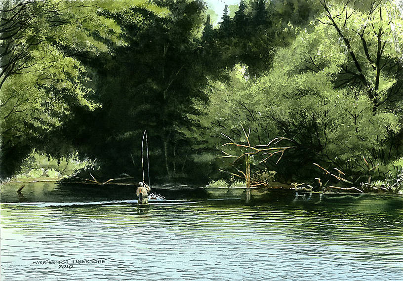 Original Watercolor From the Genesee River in New York.