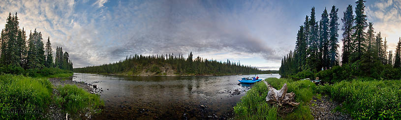 "I love this 360-degree panorama of our campsite after a nice day of fishing the Gulkana.  Back in the trees my dad (on the right) is chatting with ""Moose"" from Blue Moose Rafting (on the left). From the Gulkana River in Alaska."