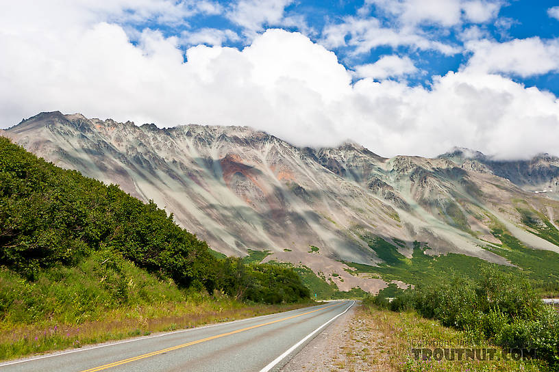 Rainbow Mountain in the Alaska Range, one of the prettiest pieces of the Richardson Highway. From Richardson Highway in Alaska.