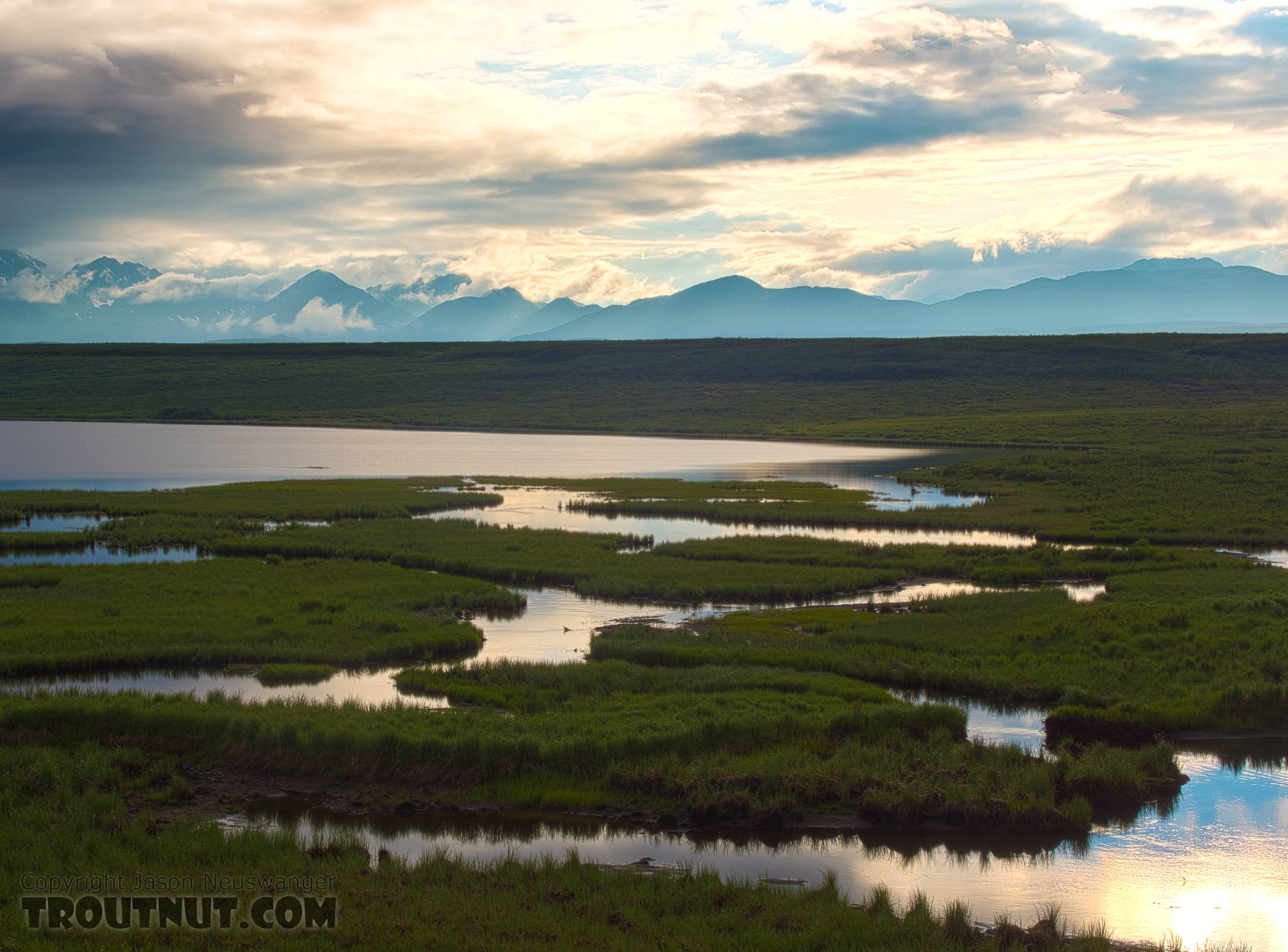 This was one of our first views of the mountains we'd be hiking into, seen from across some lakes in the upper Osar Creek drainage. From Denali Highway in Alaska.