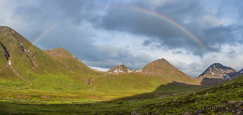 Rainbow mini-panorama. From Clearwater Mountains in Alaska.
