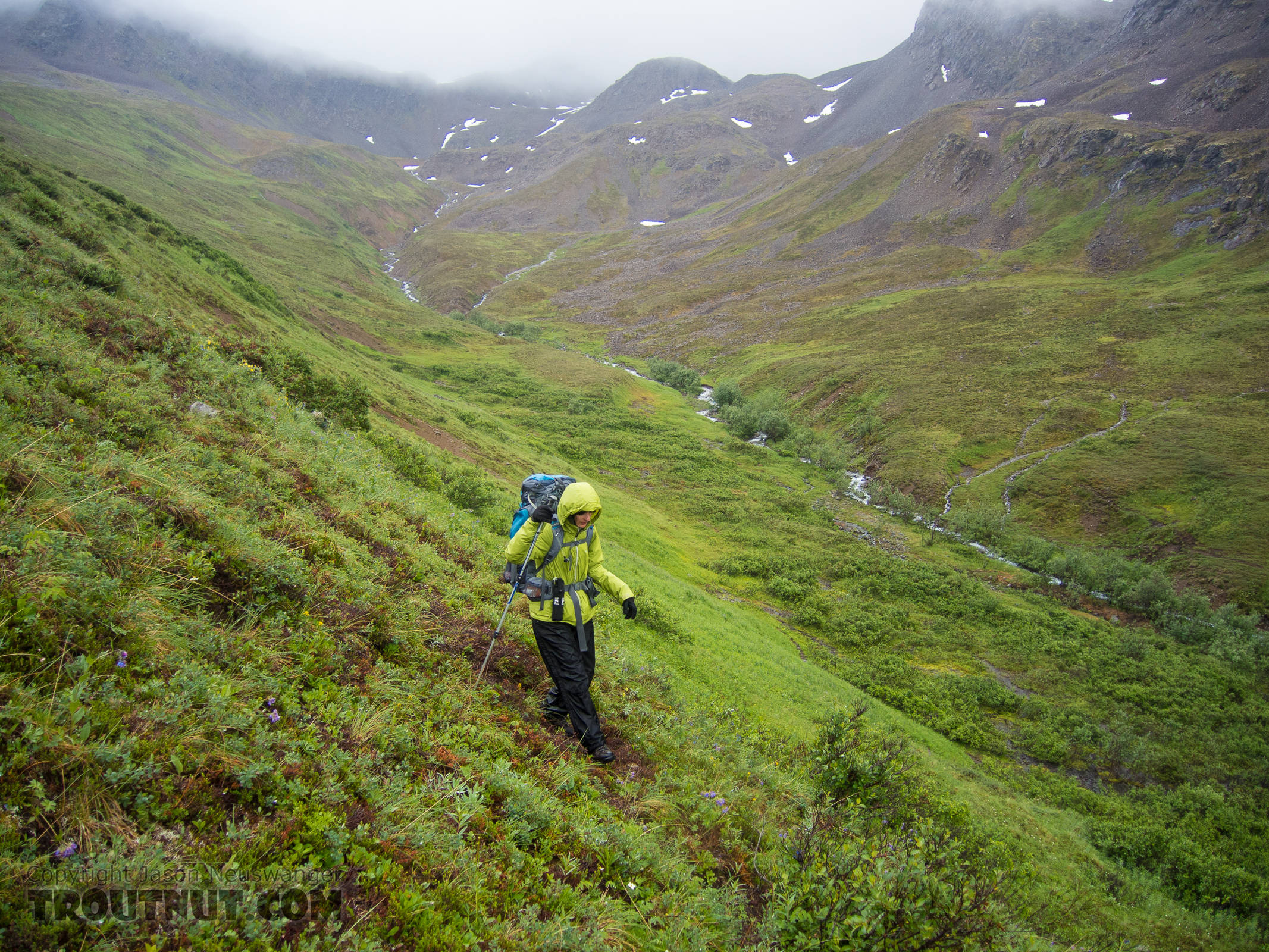 Steep descent from the second pass From Clearwater Mountains in Alaska.