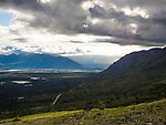 Denali Highway back in view after hiking 19 miles. From Clearwater Mountains in Alaska.