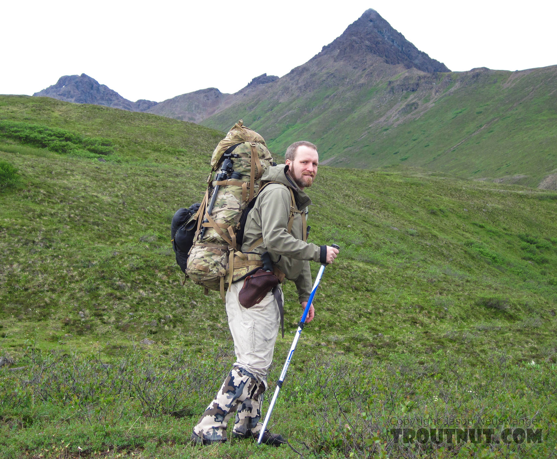 Carrying a heavy load. From Clearwater Mountains in Alaska.