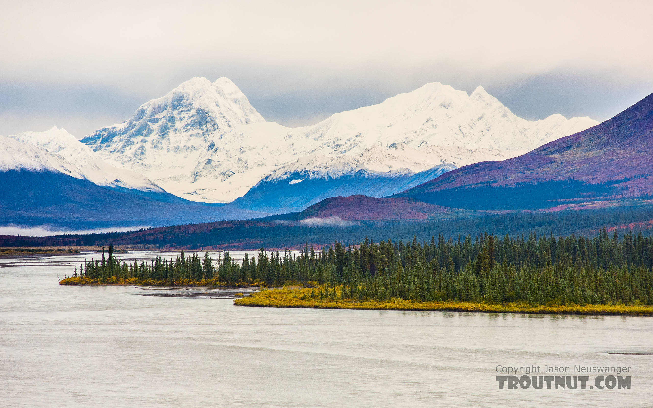 Alaska Range over the Susitna. Mount Deborah is on the left, and Hess Mountain is on the right. From the Susitna River in Alaska.