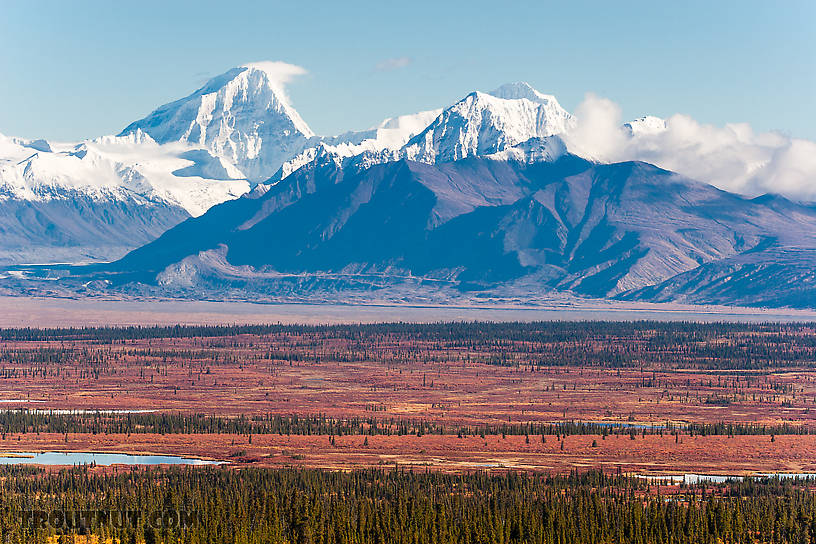 Mt Deborah (left) and Hess Mountain (right) From Denali Highway in Alaska.