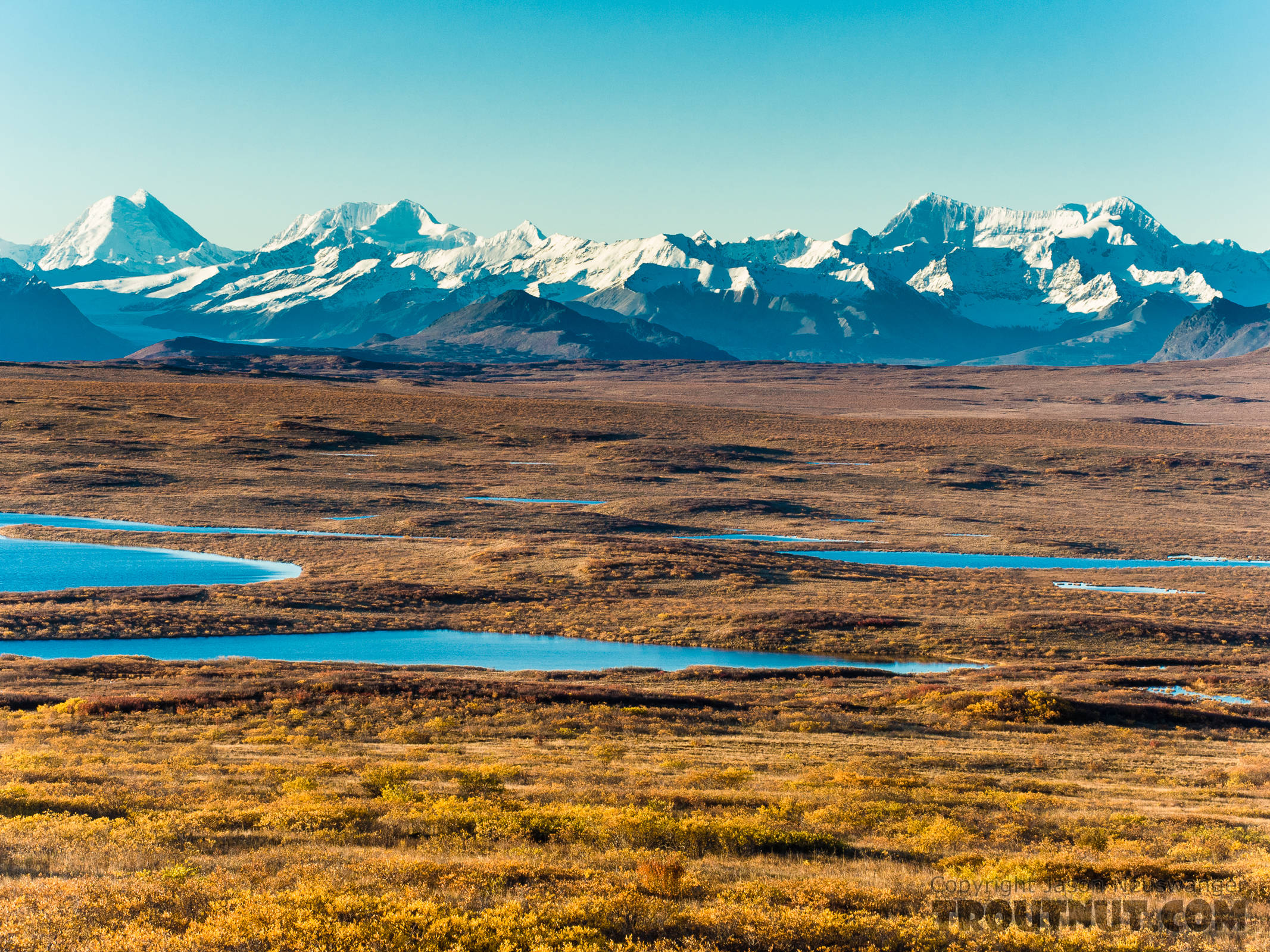 Kettle lakes and the Alaska Range From Denali Highway in Alaska.
