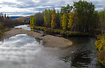 View downstream from Elliott Highway bridge From the Chatanika River in Alaska.