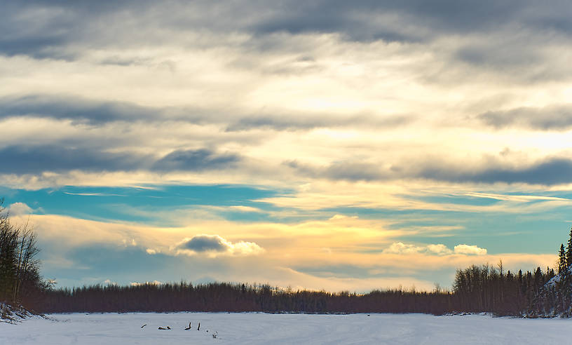 This was a typical late-winter sunset over the frozen Tanana River, a popular highway for mushers and skiiers outside of Fairbanks until the ice becomes unnavigable due to overflow sometime in April. From the Tanana River in Alaska.