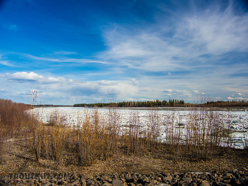 Ice piled up on the Tanana From the Tanana River in Alaska.