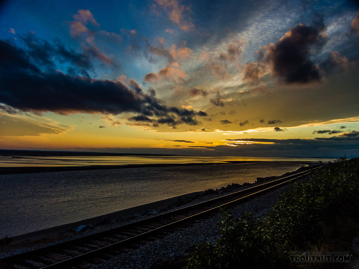Railroad along the Turnagain Arm of Cook Inlet From Turnagain Arm of Cook Inlet in Alaska.