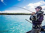 Dad playing a big fish From the Kenai River in Alaska.