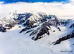 Looking north up the Kahiltna Glacier at Mt Hunter (left) and So From Denali National Park in Alaska.