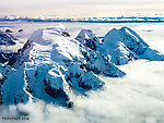 Peaks near the head of the Tokositna Glacier From Denali National Park in Alaska.
