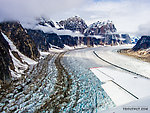 Looking up the Great Gorge of the Ruth Glacier From Denali National Park in Alaska.