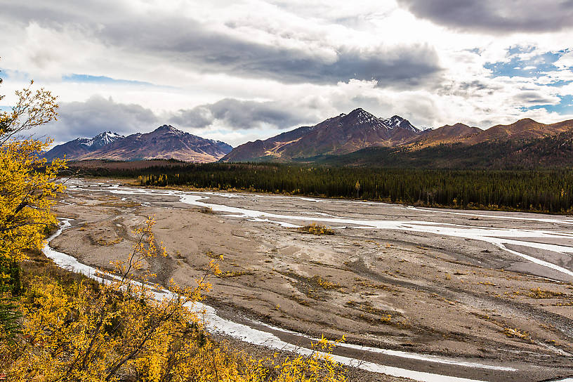 Teklanika River From Denali National Park in Alaska.