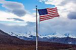Flag at Eielson visitor center From Denali National Park in Alaska.