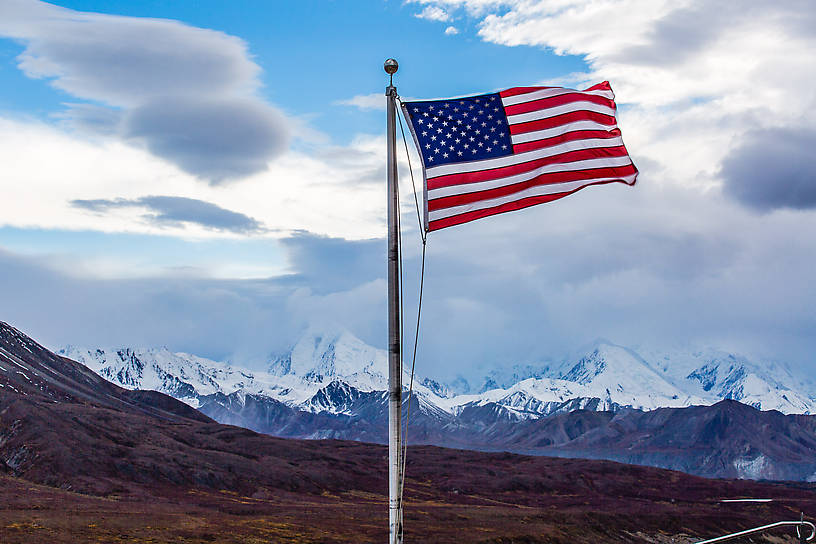 Flag at Eielson visitor center From Denali National Park in Alaska.