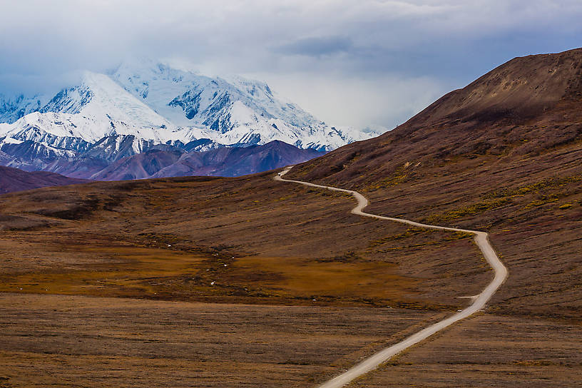 Base of Denali in the distance From Denali National Park in Alaska.