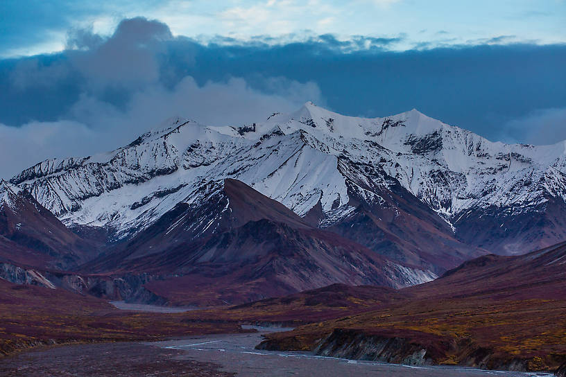Mountain at dusk From Denali National Park in Alaska.