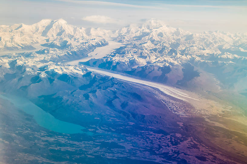 Mt Foraker (left), Denali (right), Kahiltna Glacier, and Chelatna Lake, the outlet of which (Lake Creek) is known for great fishing and difficult floating. Viewed from a flight from Kotzebue to Anchorage. From Denali National Park in Alaska.