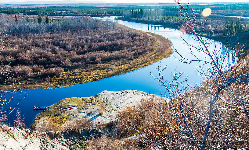 Looking down at the new permafrost slump From the Selawik River in Alaska.