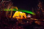 Aurora over the Arctic Oven tent at USFWS sheefish camp. Not pictured: the wolf howling in the background as I took this picture. From the Selawik River in Alaska.