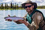 Kenai River rainbow I caught on a leech pattern Perry tied From the Kenai River in Alaska.