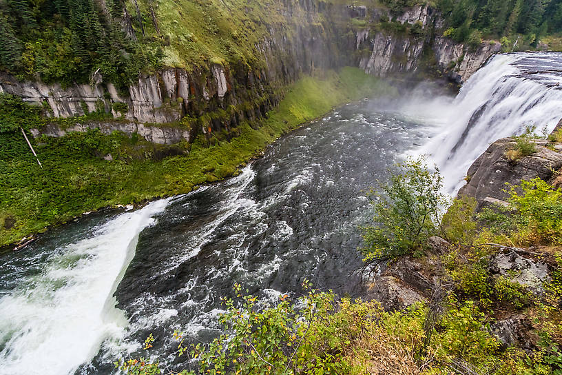 Upper Mesa Falls From the Henry's Fork of the Snake River in Idaho.