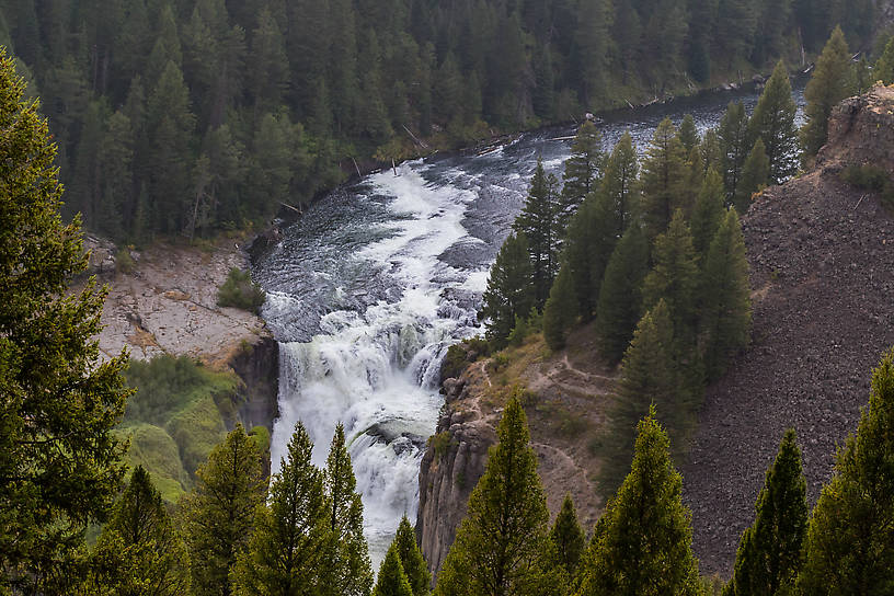 Lower Mesa Falls From the Henry's Fork of the Snake River in Idaho.