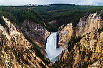 The main waterfall at the head of the Grand Canyon of the Yellowstone From the Yellowstone River in Wyoming.