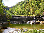 The unique geology of the Finger Lakes region of upstate NY created this waterfall, pictured here during a drought that reduced the flow to a trickle. From Toughannock Creek in New York.