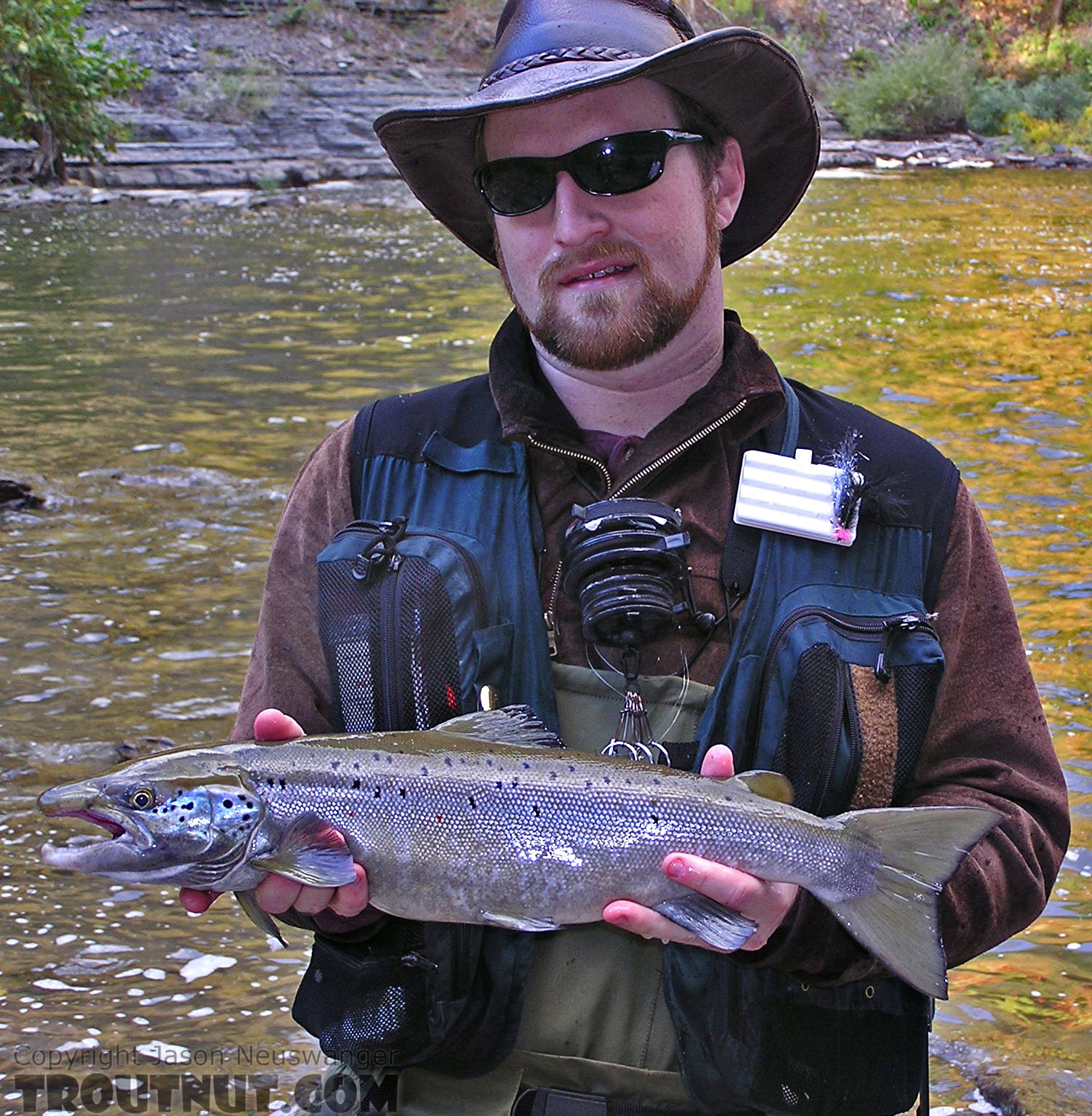 "This was my first Atlantic Salmon ever, a 23"" landlock from a Finger Lakes tributary.  It rose up from the murky water, gulped my bright streamer near the surface, and sank down, almost like the rise form of a trout sipping a tiny bug.  I set the hook and landed the fish after a fight that exceeded my high expectations. From Fall Creek, Ithaca Falls in New York."