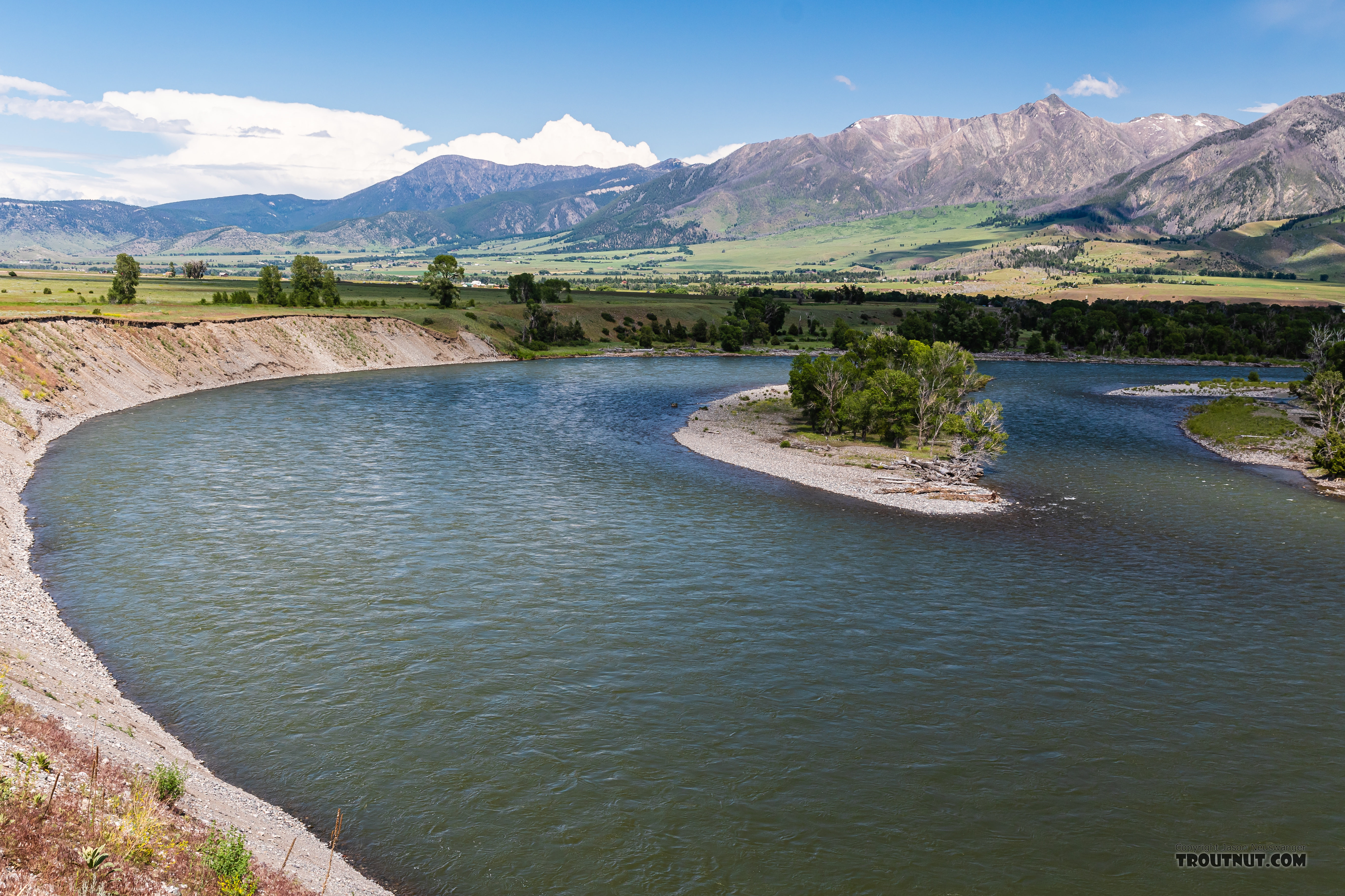 Yellowstone River above Mallard's Rest in Paradise Valley From the Yellowstone River in Montana.