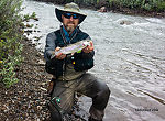 One of five small-medium rainbows I caught on the Ruby despite high water from a recent thundershower. From the Ruby River in Montana.