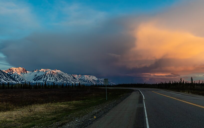 Storm view south of Broad Pass From Parks Highway in Alaska.