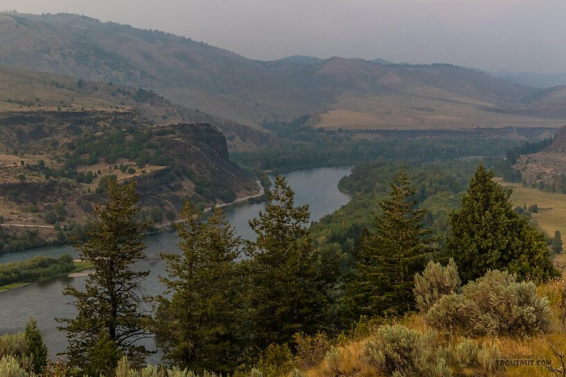 Snake River from the Clark Hill Rest Area on highway 26. Smoke from distant California wildfires was clouding eastern ID / west WY a couple weeks before this year's coast-wide smoke catastrophe. From the Snake River in Idaho.