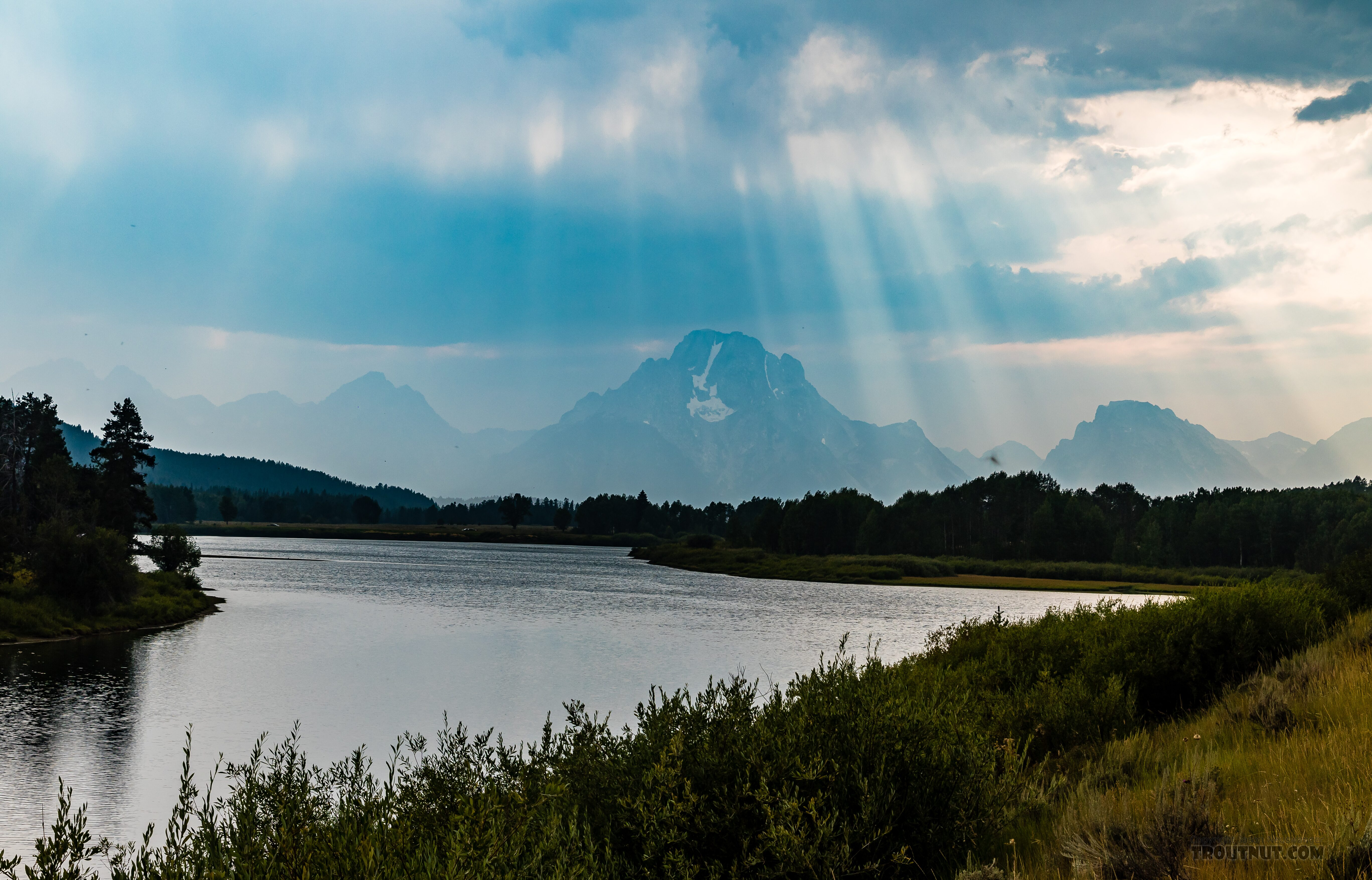 Teton Range behind the Snake River From the Snake River in Wyoming.