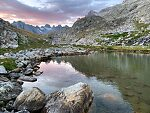 Sunset at Mistake Lake From Titcomb Basin in Wyoming.