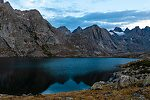 Dawn at Upper Titcomb Lake From Titcomb Basin in Wyoming.