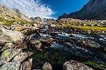Outlet stream of Upper Titcomb Lake From Titcomb Basin in Wyoming.
