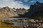 Upper Titcomb Lake outlet From Titcomb Basin in Wyoming.