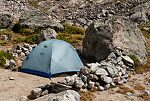 Camp sheltered from the wind From Titcomb Basin in Wyoming.