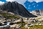 Fishing the inlet to Upper Titcomb with no luck From Titcomb Basin in Wyoming.