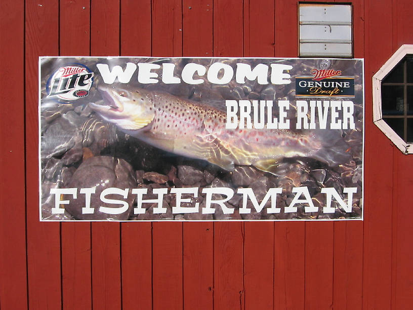 My frequent fishing partner Brad Bohen spotted and photographed this beer poster in Brule, WI.  He's got a good eye for trout, and this one looked familiar.  Sure enough, it's a 15 incher I caught on the Beaverkill in the Catskills in August 2004 on an emergent sparkle pupa.  I posted it here. From Brule, WI in Wisconsin.