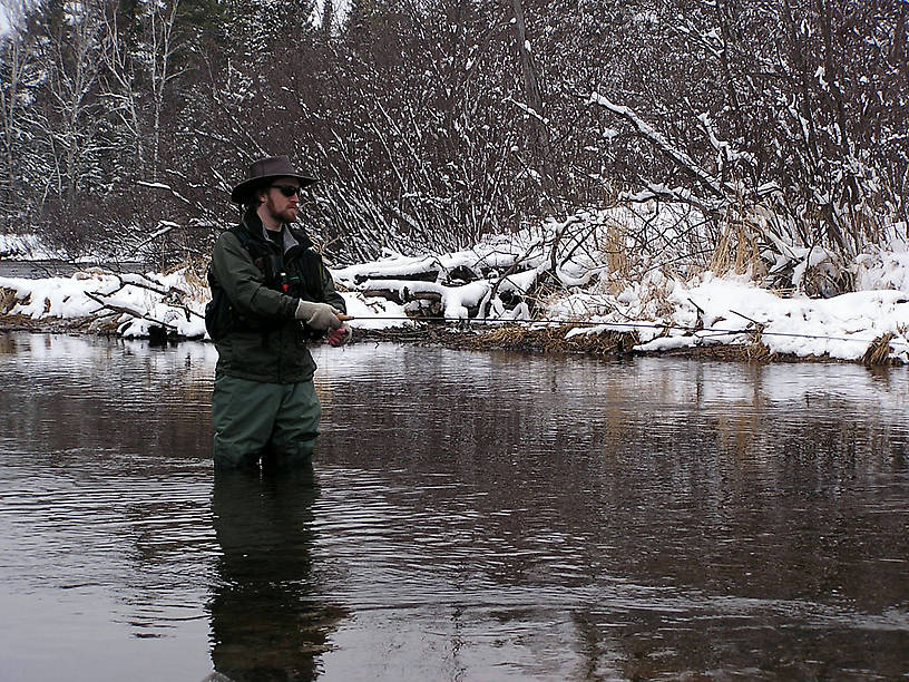 Me trying to catch some hungry little brook trout on opening day, 2004. From the Mystery Creek # 19 in Wisconsin.