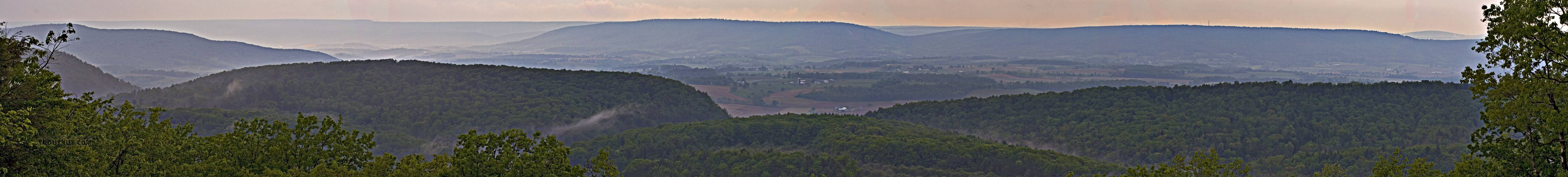 Panorama of a trout stream valley after a May thunderstorm. From Penn's Creek in Pennsylvania.