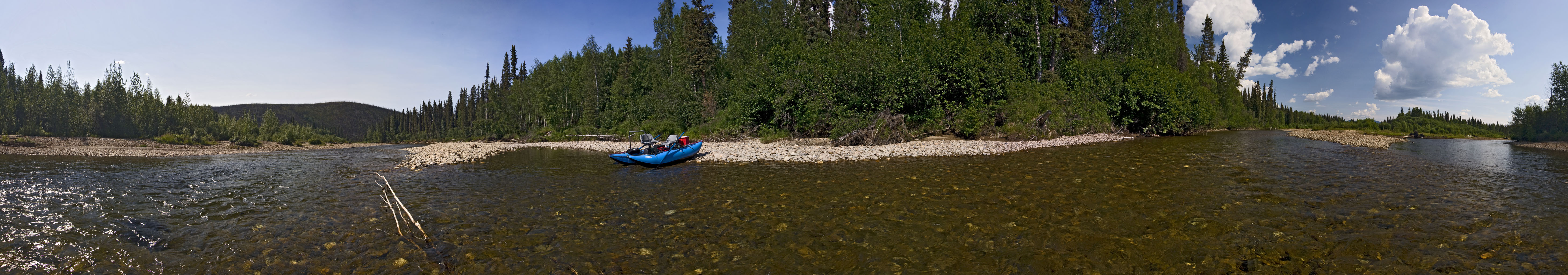 Here's a panorama of the junction of the North Fork of the Chena River and Middle Fork of the Chena River, where we my dad and I spent some time fishing for Arctic grayling on this float trip. From the Chena River in Alaska.