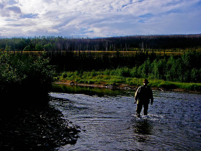 My dad walks back to the car after a few hours catching grayling. From the Chatanika River in Alaska.