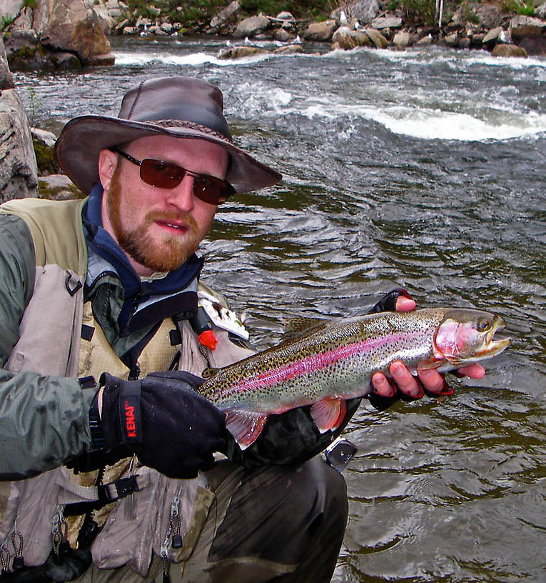 This is my biggest and certainly best stream-resident rainbow to date, a wild 19-incher pulled from a Class III-IV rapids.  It's also the first fish ever to take me into my backing. From the Gulkana River in Alaska.